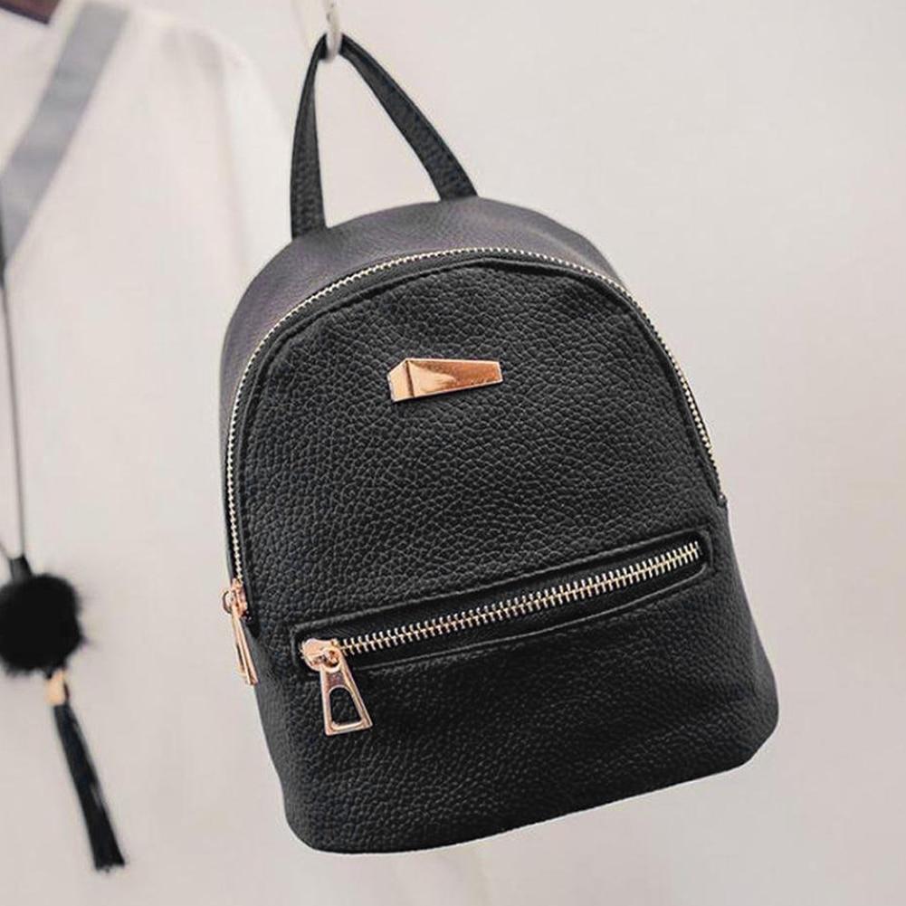 Fashion Faux Leather Mini Backpack Girls Travel School Rucksack Bag ... dc6bdc9a807b6