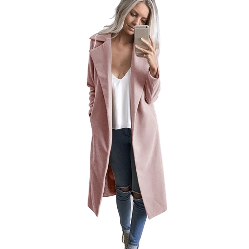 c61076237d8 New Styles Women Casual Open Front Blazer Suits with Pocket Cape Trench  Coat Duster Coat Longline