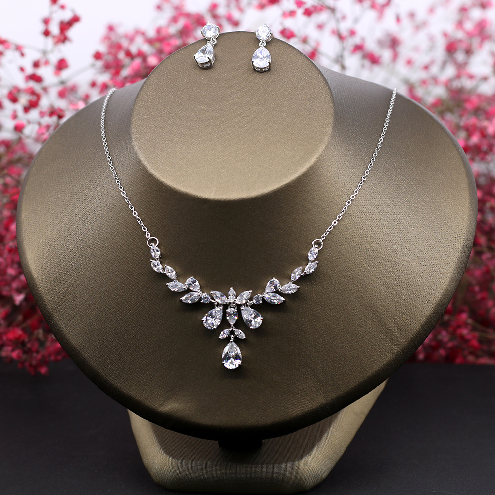Vysor AAA Cubic Zirconia Necklace Earrings Set Clear CZ Stone Wedding Jewelry Sets Brides