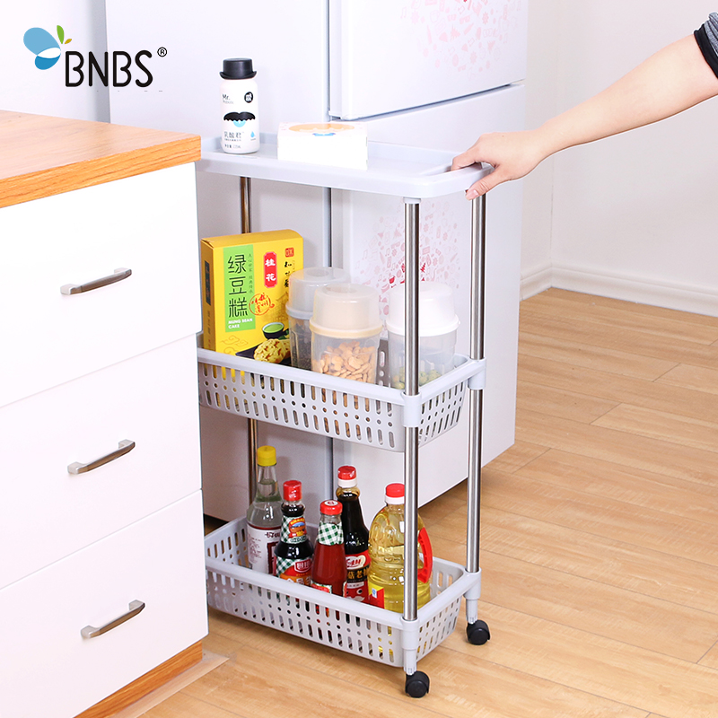 BNBS Multipurpose Household Shelf with Removable Wheels Crack Rack Storage Holder Shelf Multi layer Refrigerator Side