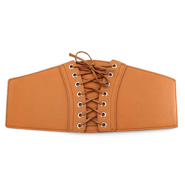 whole colored Belt Corset Lace up Wide Belts for Women Black Cummerbund for Evening Dress Fashion Clothes Accessory 5