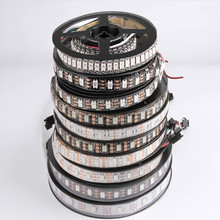 купить LED Strips DC 5V Black White PCB WS2812B LED Strip IC 30/60/ LEDs Smart Addressable Pixel RGB 1M 2M 17Key Bar Bedroom Nightlight по цене 214.28 рублей