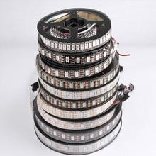 цены LED Strips DC 5V Black White PCB WS2812B LED Strip IC 30/60/ LEDs Smart Addressable Pixel RGB 1M 2M 17Key Bar Bedroom Nightlight