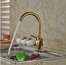 Wideapread Золотой Отделка Кухонный Кран Бассейна на Одно Отверстие Кран Горячей и Холодной Кран