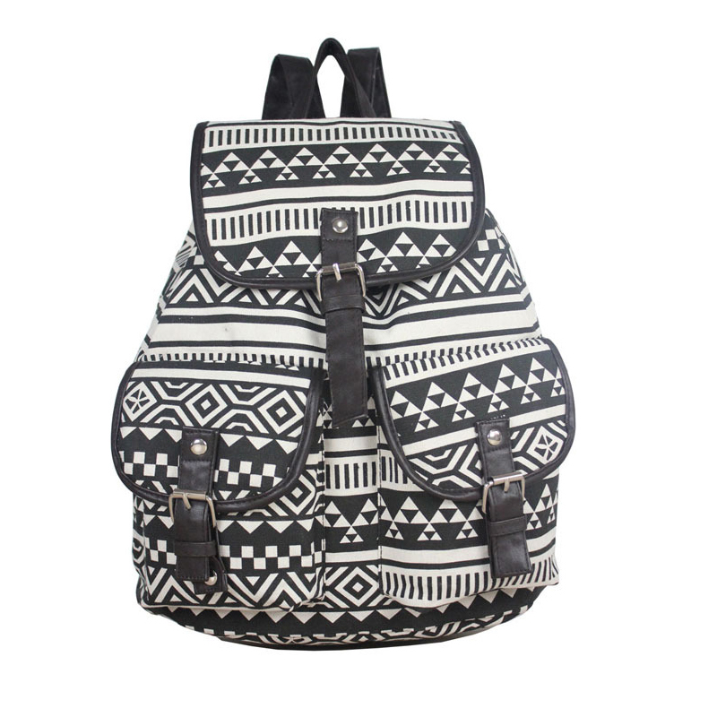 Large capacity girls school backpack vintage Striped Black canvas Drawstring backpack Women back pack rugzak free shipping T26