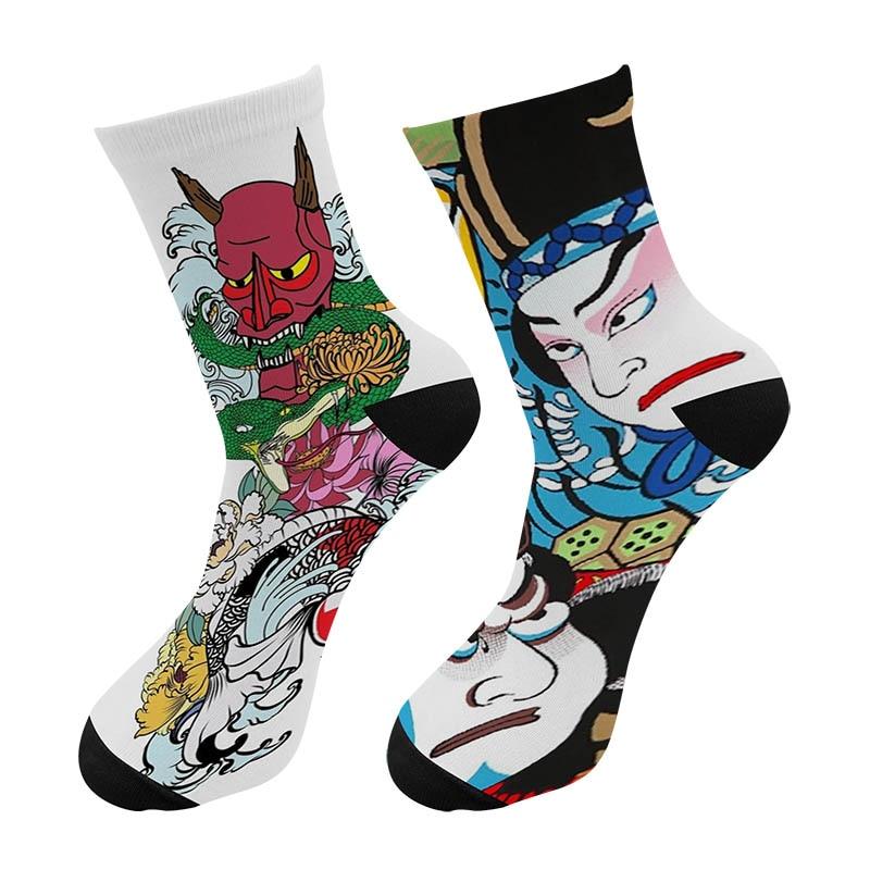 New 3D Printed Japanese Ukiyoe Paint Crew Socks Men Street Oil Painting Long Socks Harajuku Pattern Men's Dress Tube Socks