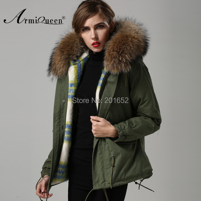 Quilted Fur Military Parka Hooded Jacket UK12 Real Raccoon Fur ...