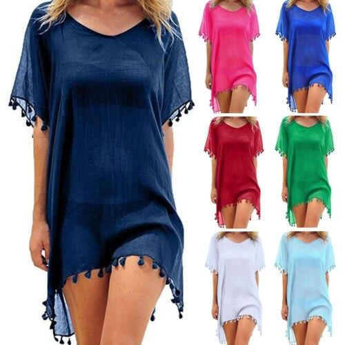 Caliente un tamaño de las mujeres gasa de La Manga La Playa baño Beachwear Pareo Beachwear señoras vestido de verano Sundress