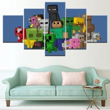 HD Printed Pictures On Canvas Wall Art Decorative 5 Panel Game Minecraft Characters Painting Home Poster Framework