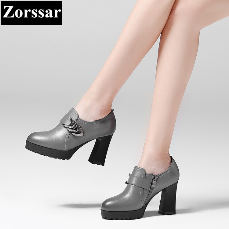 ФОТО Gray Womens shoes Slip-On Round Toe platform High heels pumps women ankle boots 2017 NEW fashion Genuine leather woman heels