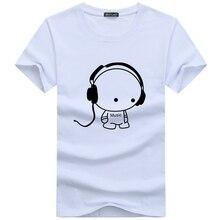 Headset Cartoon Printed Casual Men T-Shirt