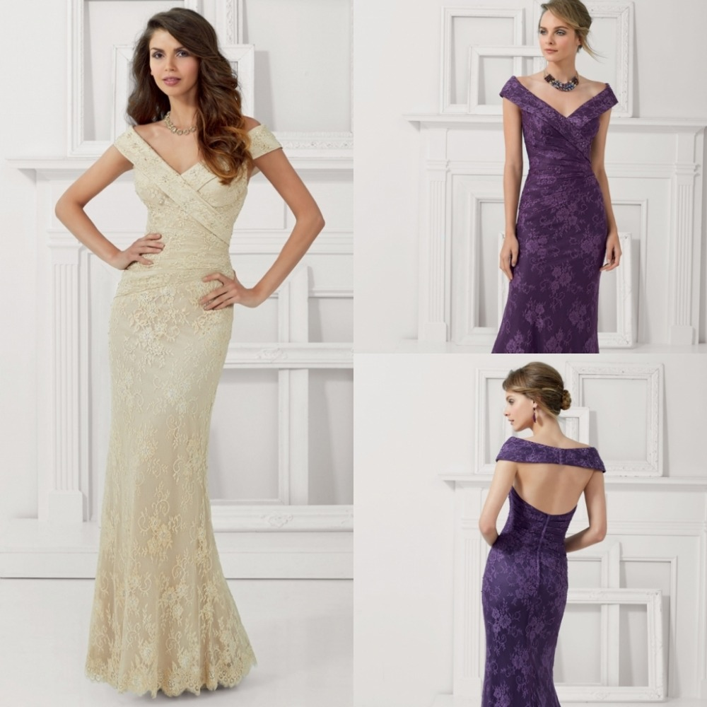 Sexy Long Mermaid Mother Of The Bride Lace Dresses 2015 Cap Sleeve Vestidos V-Neck Open Back New Fashion Women For Weddings