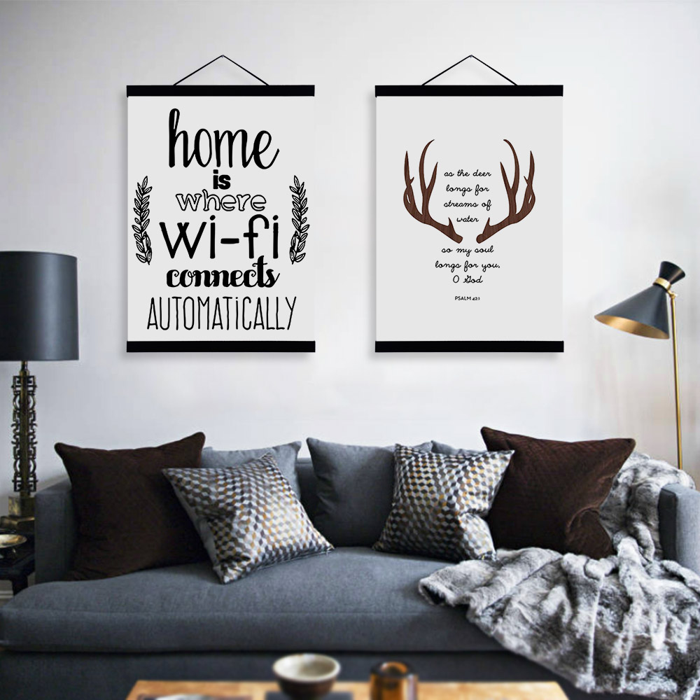 Abstract Deer Head WIFI Quotes Wooden Framed Canvas Paintings Modern Nordic Home Decor Big Wall Art