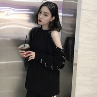 Korean Harajuku Women Long Sleeve T Shirt 2018 Spring BF Chic Style Black Top Off Shoulder With Hole Ring Sexy Casual T Shirt