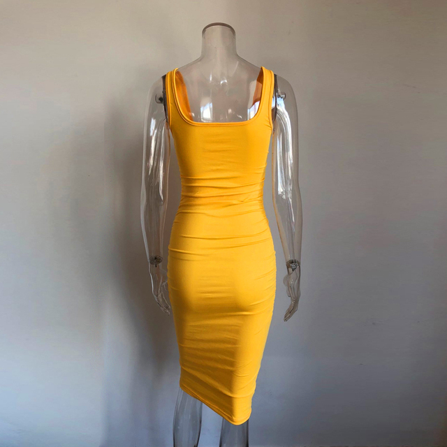 KGFIGU Kendall jenner Yellow bodycon dress 2019 Summer sleeveless skinny ropa mujer knee length vestidos High quality 5