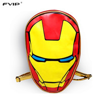 FVIP 2017 New Design School Backpack Marvel the Avengers Iron Man 3D Fashionable Laptop Backpacks High Quality Leather