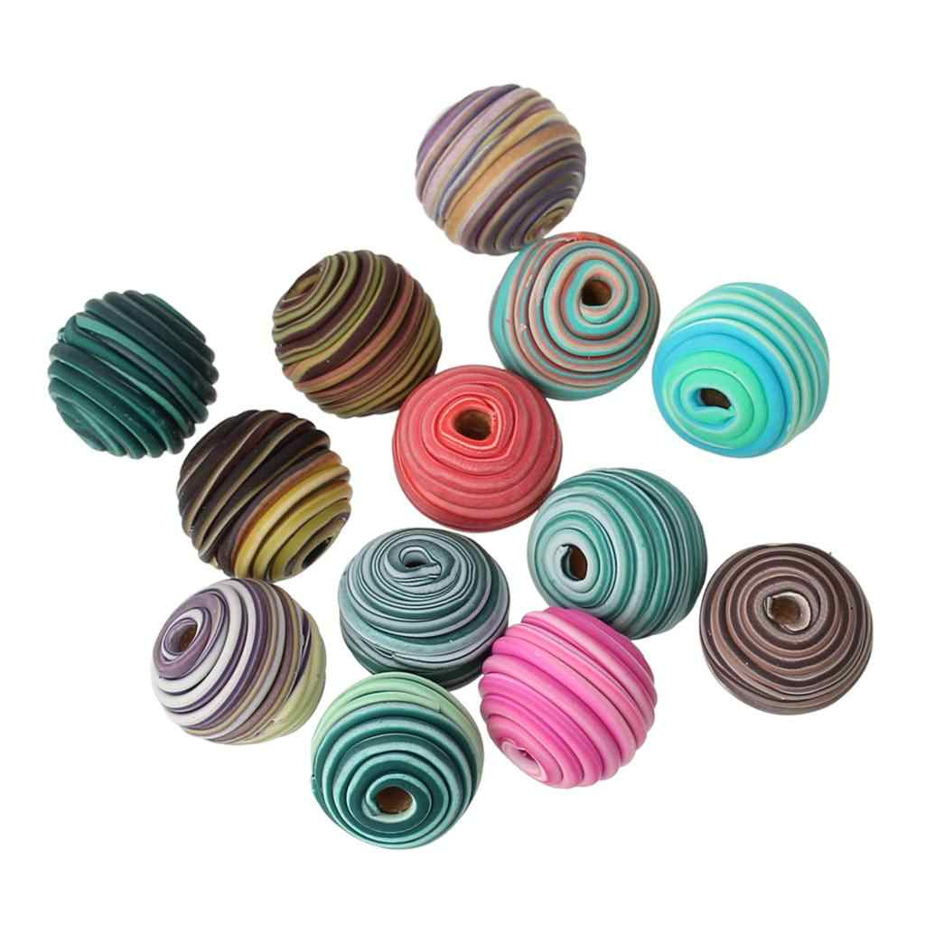 Polymer Clay Spacer Beads Round At Random Spiral Pattern Handmade About 14mm Dia, Hole: Approx 3.4mm, 2 PCs new