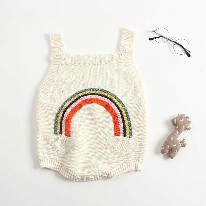Для маленьких девочек 3 м до 24 м радужные подтяжки комбинезон на зиму детский жилет шерстяной свитер Костюмы для девочек комплект с рисунком