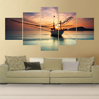 No Frame 5 Panel Modern Late Return Of Fishing Boats Canvas Oil Painting Art Pintura Cuadros