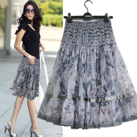 9 color womens casual bust skirt plus size print lace bohemia medium long skirt FREE SHIPPING A173