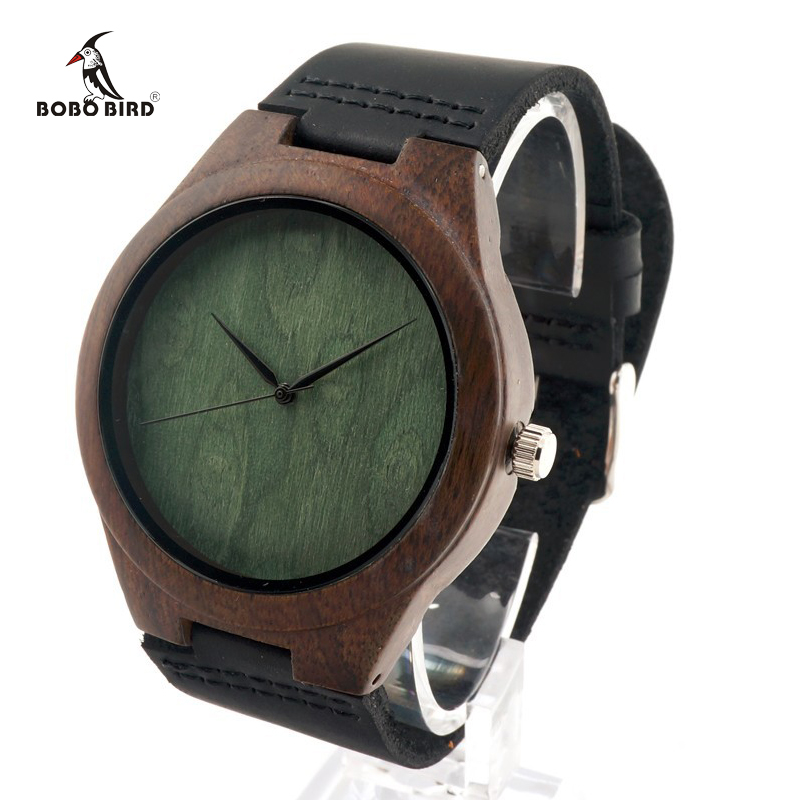 2017 Brand BOBO BIRD Black Wood Wristwatch with Leather Band Men s Luxury Gift Watches relogio