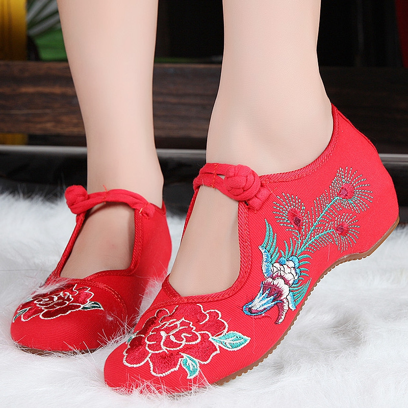 Veowalk Vieux Chaussures Vintage Janes Noir Mary Occasionnels rouge Tissu Pékin Sapato Noir Fleur Broderie Appartements Feminino Mode Chinois Femmes wyvNOPm8n0
