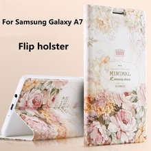 For Samsung A 7, 3D Colored Painted Flip holster Stand bracket Luxury Phone Bags Cover Case For Samsung Galaxy A7 A7000