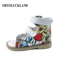 2019 Newest Summer PU Leather Pattern Shoes For Girls Children Sandals Kids Orthopedic Shoes Baby Girl Shoes With Buckle Strap