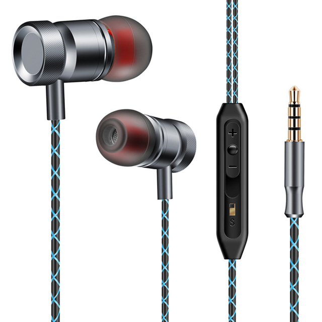 Subwoofer In-ear Earphone Metal 3.5mm Super Bass Headset Hifi Stereo Music Earbuds With Mic Earphones For Mobile Phone