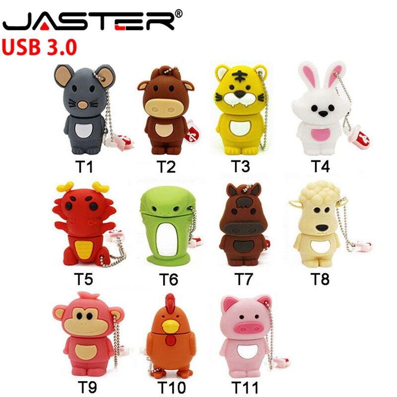JASTER  Chinese Zodiac Usb 3.0 Flash Drive Disk Animal Green Snake/chicken/rabbit/horse/monkey Memory Stick Pendrive 4GB To 64GB