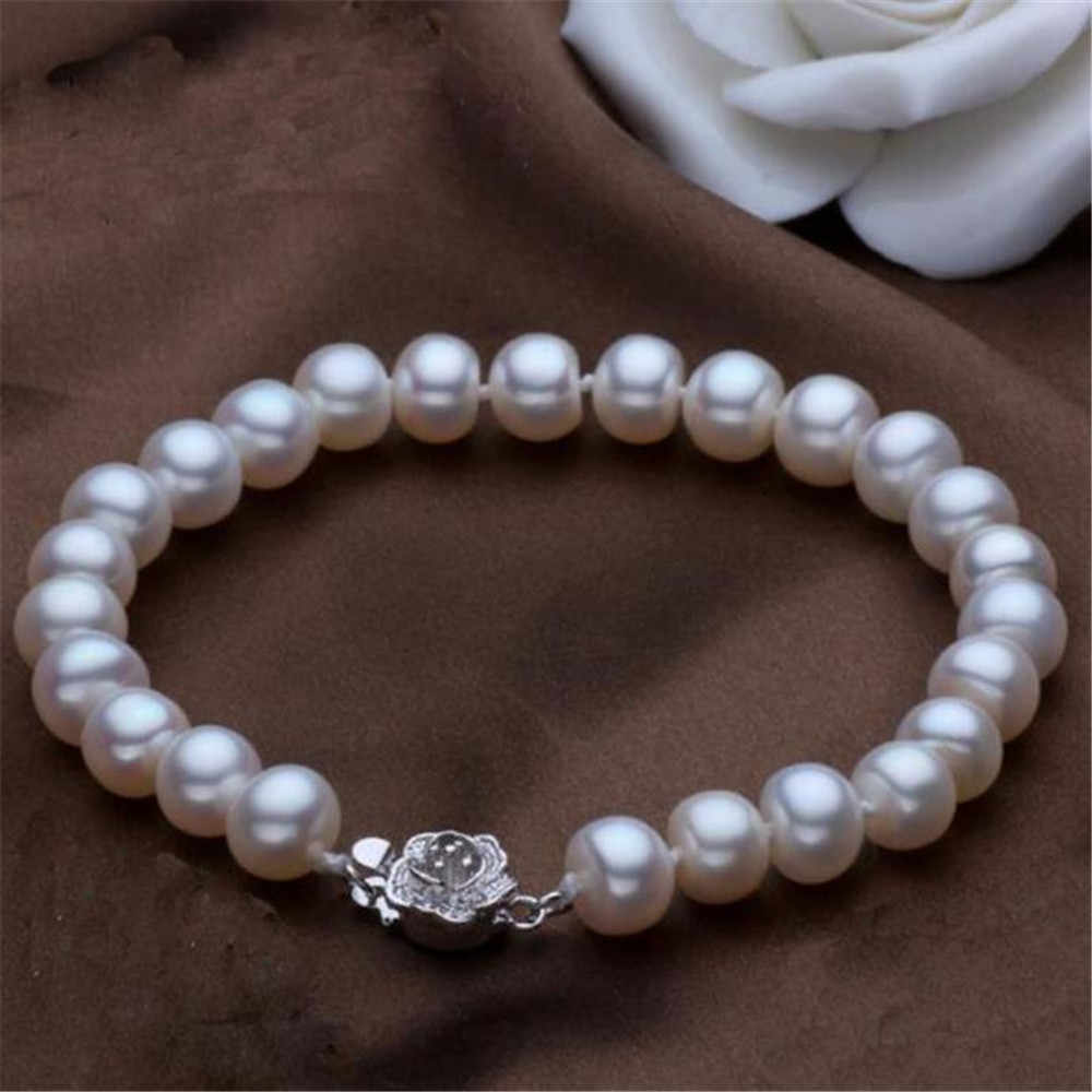 YKNRBPH Fashion Round Pearl Bracelet Women's Weddings Freshwater Pearl Bracelet S925 Sterling Silver Fine Jewelry