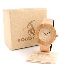 BOBO Cilindro PÁJARO De Bambú Caja De Madera Diseño Reloj de Pulsera Para Hombre Causal Reloj de Cuarzo con PU correa en Caja de Regalo