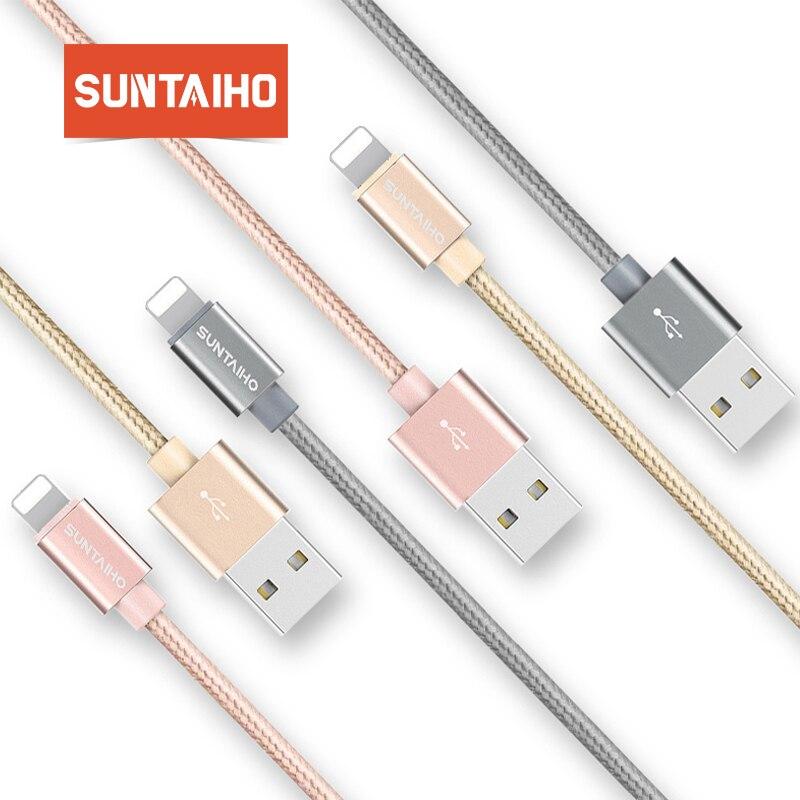 Suntaiho Pour iPhone XS MAX 7 Câble En Nylon 2.1A Charge Rapide Câble USB Pour iPhone X XR 6 8 Plus SE iPad Air 2 Câbles de Téléphone Portable
