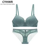 CYHWR Women Sexy Gathered Underwear No Steel Ring Adjustable Embroidery Bra And Panty Bra Set