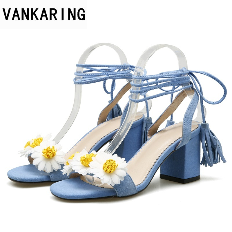 VANKARING new 2018 summer women sandals fashion brand shoes flower decorate sandals open toe woman pink blue dress party shoes vankaring women summer boots leather sandals new 2018 fashion flat heel open toe rhinestones casual shoes woman gladiator sandal