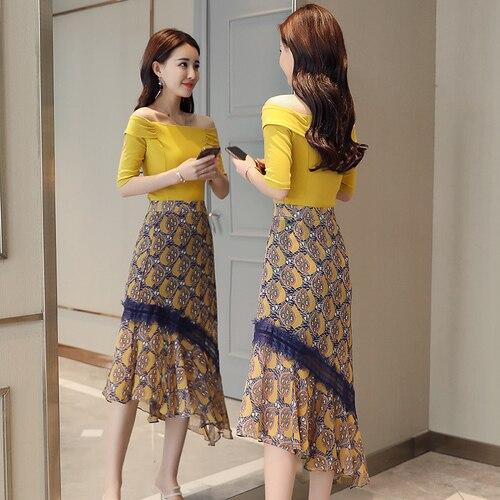 Slash Neck Short Sleeve Fashion Irregular Floral Print Skirt 2 Piece Set Women Elegant Thin Summer Costume Sweet Top And Skirt