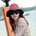 Envío Libre Retro Sol Sombrero De Cuero Hebilla sombrero de Playa Sombreros de Moda de Verano para Mujer de Paja Plegable Vendimia Sombreros de Las Mujeres