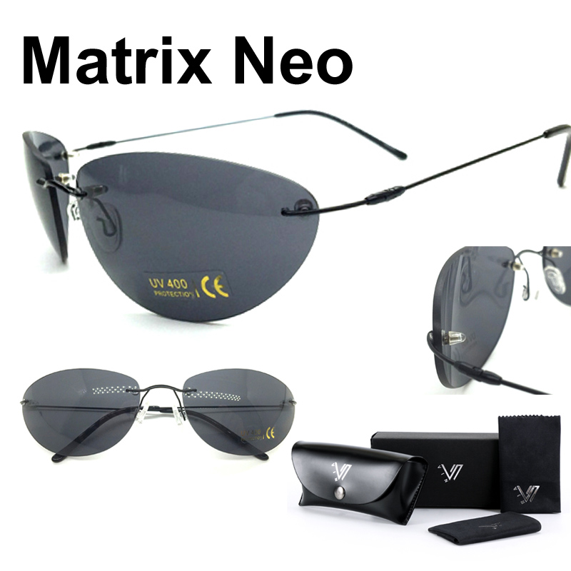 Matrix NEO Morpheus Sunglasses Movie sunglasses men 13 9 g Ultralight Rimless Classic Oval glasses Oculos