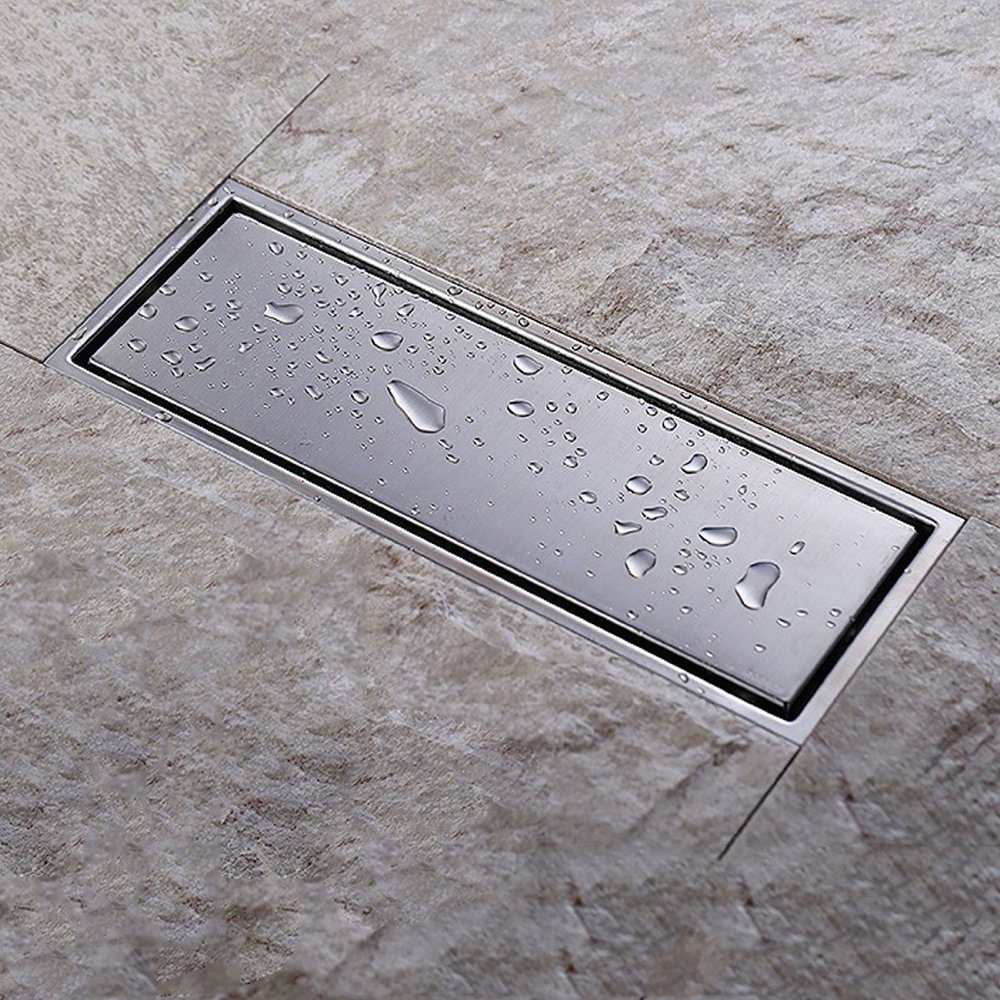Linear shower floor drain with tile insert grate made of sus304 linear shower floor drain with tile insert grate made of sus304 stainless steel 12 inch long brushed stainless m7m98 in drains from home improvement on dailygadgetfo Image collections