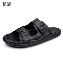 Mens leisure slippers Summer leather sandals breathable beach shoes Men comfortable fender summer men genuine