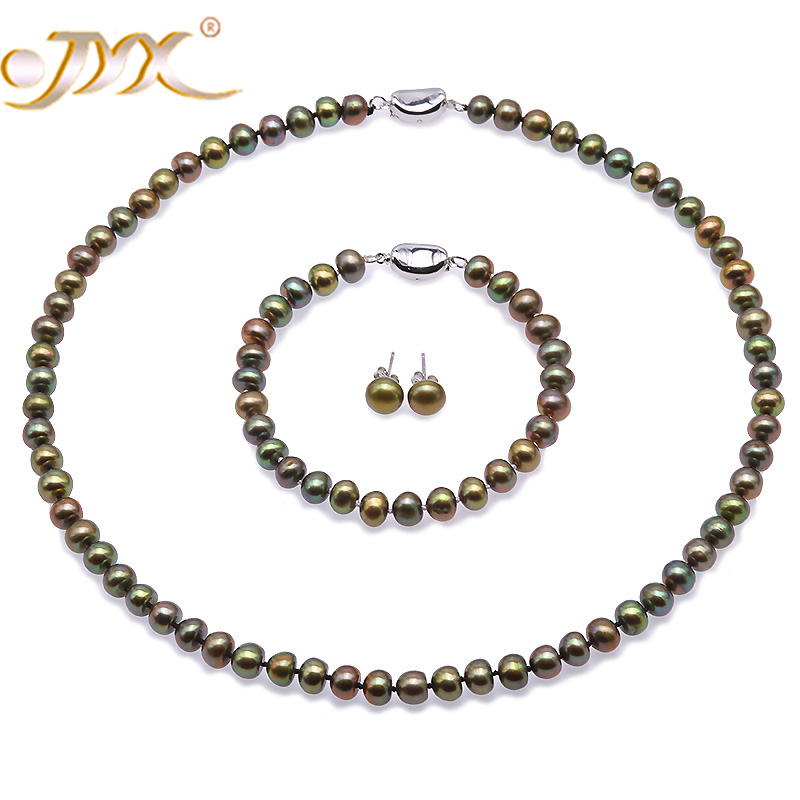 JYX Necklace Set 6-7mm AA Peacock Green Flat Round Freshwater Pearl Necklace, Bracelet and Stud Earrings Set цены онлайн