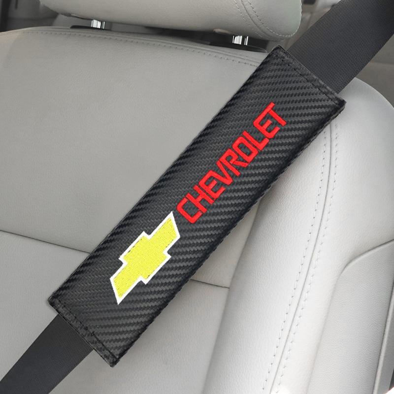 2pcs Carbon FiberAuto Seat Belt Cover Shoulder Pad Case For Chevrolet Colorado Cruze Spark Captiva Malibu Trax Aveo Car Styling