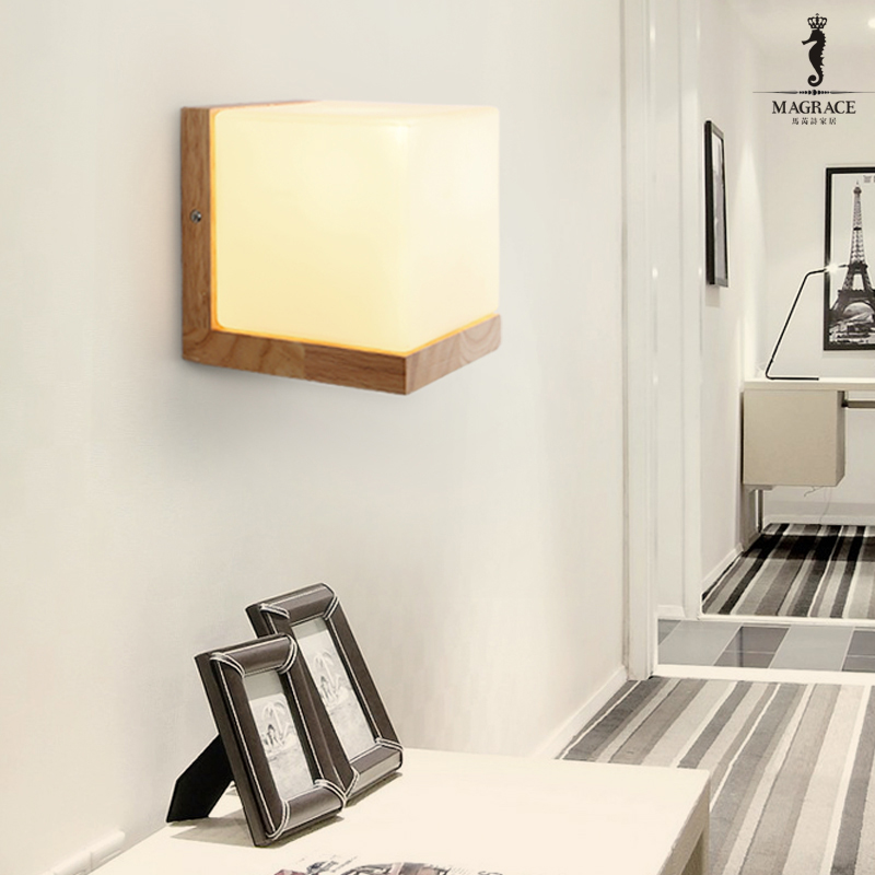 Modern Minimalist Led 5W Wall Lamp Nordic Style Oak Wood Glass Bedroom Restaurant Wall Lamp Indoor Decoration Night Light free shipping remote control colorful modern minimalist led pyramid light of decoration led night lamp for christmas gifts