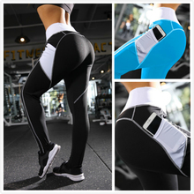 Women's Yoga Pants Side Pocket Stitching Polyester Stitching Leggings Quick-drying Gym Elastic Sports Yoga Pants active heart pattern stitching sports leggings in grey