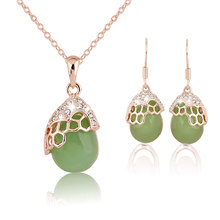 2018 Opal Earrings and Necklace a Set of Ornaments Cute Costume Jewelry Sets Women's Earrings Indian Ethiopian Jewelry Set(China)