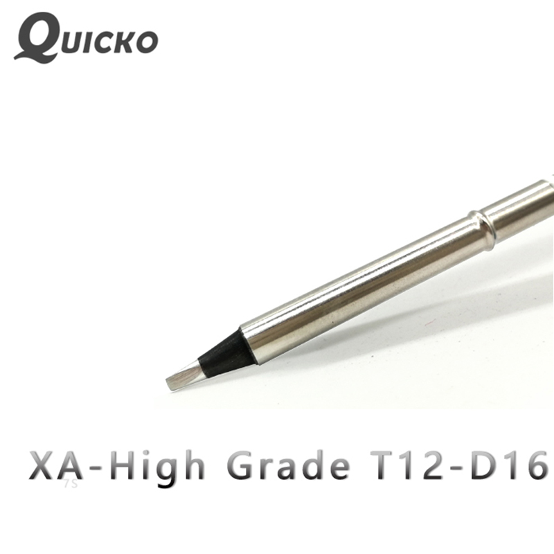 QUICKO T12-D16 XA High-grade T12 Black Welding Tips Soldering Iron For HAKKO FX951/952 OLED/LED Soldering Station 7S Melt Tin