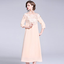 Fashion gorgeous elegant 2019 spring and summer and autumn women's clothes embroidery fashion loose big temperament women dress цены