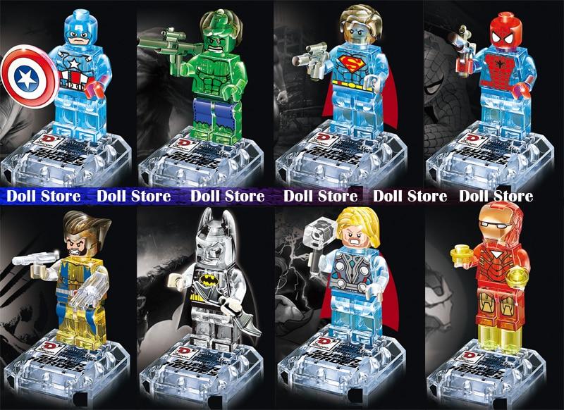 8pcs/<font><b>lot</b></font> <font><b>Marvel</b></font> Toys <font><b>Super</b></font> <font><b>Heroes</b></font> <font><b>Minifigures</b></font> The Avengers action figures set Batman <font><b>Crystal</b></font> Mini Figures Building Blocks Dargo