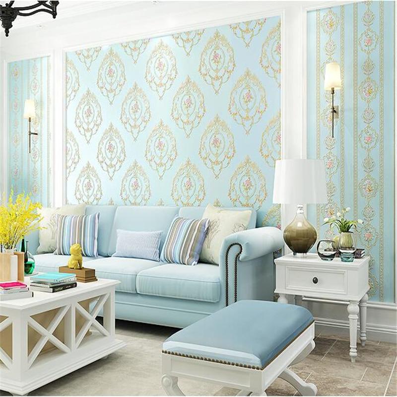 Beibehang papier peint pastorale européen chambre chaude étage complet salon 3d stéréo fond TV mur papier peint non tissé