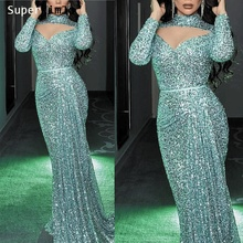 SuperKimJo Arabic Evening Dresses Long Sleeve High Neck Sequin Gown 2019 Abendkleider Vestidos De Festa Longo